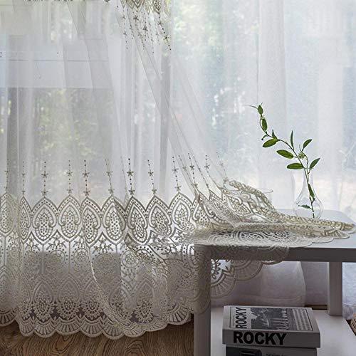 PENVEAT Zarte bestickte Tüll Vorhänge für Wohnzimmer weiß Schiere Volie Fenster Vorhang für Schlafzimmer Spitze Cortina para Sala, bestickter Tüll, EIN Meter Stoff, Pull Plissee Tape