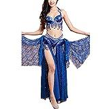 Vestido de baile latino con volantes para mujer 2pcs bellamente danza del vientre traje determinada con cuentas Rendimiento etapa del partido del delirio de Cabaret Para Tango de Samba Cha Cha Rumba