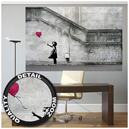 GREAT ART® Fototapete – Banksy Street Art Graffiti – Wandbild Wand Dekoration Banksy Hope Balloon Girl Stencil Pop Art Gemälde Bild Wallpaper Foto-Tapete Wandtapete Poster (210 x 140 cm)