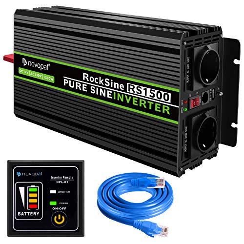 novopal® 1500W/3000W Reiner Sinus Spannungswandler Wechselrichter 12V auf 230V Konverter Power Inverter Umwandler für Auto - inkl. 5 Meter Fernsteuerung