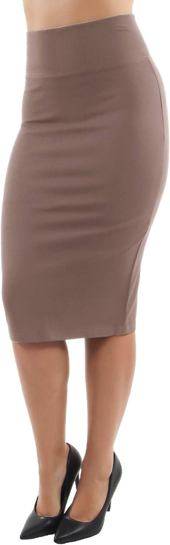 Fashion2Love Pull-on Wide High Waist Bodycon Pencil Knee Length Stretch Midi Skirt