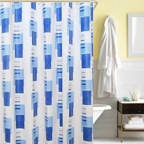 Antart 180x180cm Rideau de douche Bleu Motif Géométrique Style Simple PEVA Matériau Environnemental sans Odeur pour Salle de Bain Résistant à l'eau et au Mildiou - Inclut 2 set de Crochets en Plastiqu