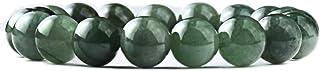 NW1776 Natural Jadeite Bead Bracelet - (A Grade Jadeite Jade) 10mm x 19 Round Bead Stretch Rope Natural Jade Oil Green Jad...