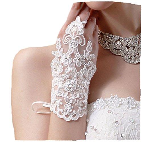 Unbekannt Brauthandschuhe fingerlos Braut Handschuhe Strass Steinchen Hochzeit Weiß Ivory (Ivory) (Ivory)