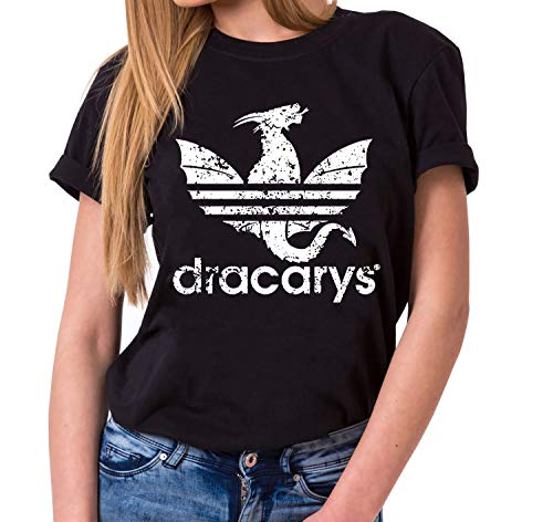 Dracarys Dragon - T-Shirt Damen Targaryen Thrones Game of stark Lannister Baratheon Daenerys Khaleesi tv blu-ray DVD, Farbe:Schwarz, Größe:M