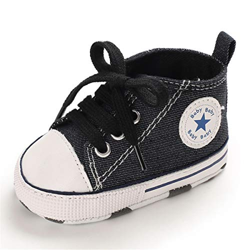 Infant Baby Boy Shoes Canvas High Top Toddler Sneakers Soft Sole Newborn Shoes for Baby Girls(0-18 Months)(0-6 Months Infant,4-Grey)