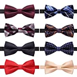 AUSKY 8 PACKS Elegant Adjustable Pre-tied bow ties for Men Boys in Mixed Colors (D)