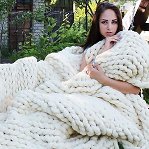 Fastar Strick-Kuscheldecke, handgefertigt, dick gestrickt, Decke für Schlafzimmer, Wohnzimmer, weiß, 120cmx150cm