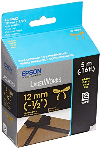 Epson LabelWorks Ribbon Tape Cartridge ~ 1/2-Inch Gold on Black (LC-4BKK5)
