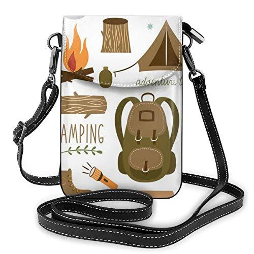 Jiger Women Small Cell Phone Purse Crossbody,Camping Equipment Sleeping Bag Boots Campfire Shovel Hatchet Log Artwork Print