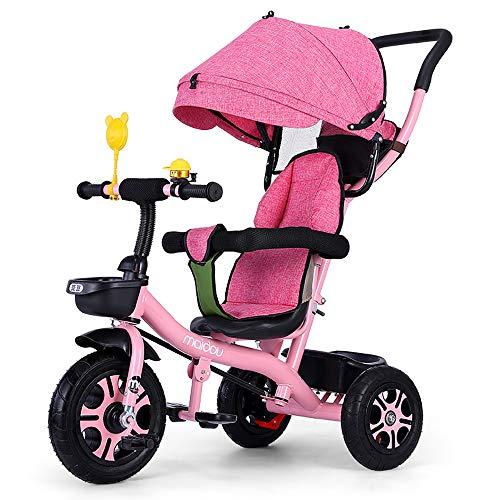 SSLC driewieler voor kinderen, kinderen, driewieler, afneembare en inklapbare kap incl. telescoopstang voor ouders gecertificeerd, draagkracht 30 kg