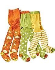 WELLYOU leotardos para bebés/niños, medias para chicas/chicos, pantimedias para bebés/pantimedias para niños verde/blanco puntos & flores conjunto de 3 tallas 62-146