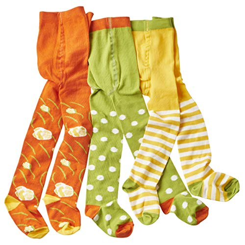 WELLYOU leotardos para bebés/niños, medias para chicas/chicos, pantimedias para bebés/pantimedias para niños verde/blanco puntos & flores conjunto de 3. Tallas 86-92