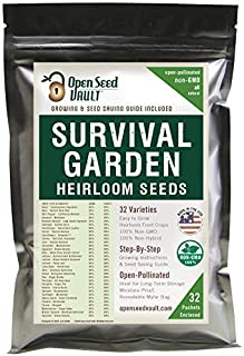 Survival Garden 15,000 Non GMO Heirloom Vegetable Seeds Survival Garden 32 Variety Pack..