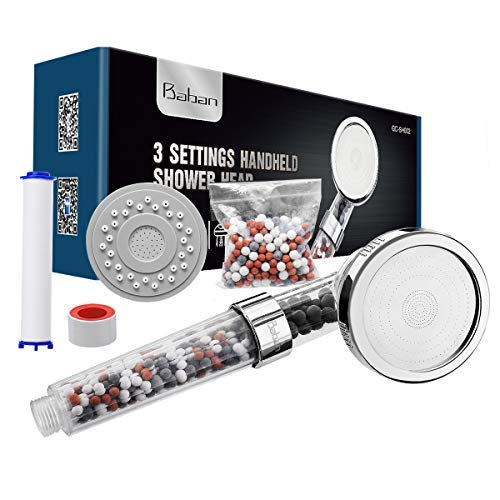 Baban Duschkopf, Drei-Wasser-Modus Filter-Handbrause, Wasserdruck erhöhen, ausgestattet mit einer PP-Baumwolle, einer Packung Filterkugeln und einem Panel