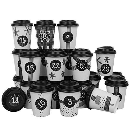 Papierdrachen DIY Adventskalender Kaffee-Becher - zum selber Basteln und Befüllen - mit schwarzem Washi Tape - 24 Coffee to Go Cups - Design Set 16
