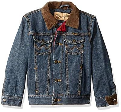 Wrangler Boys' Big Western Lined Denim Jacket, Sherpa Rustic Blue, X-Large