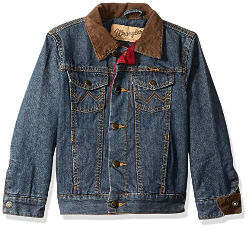 Wrangler Authentics Boys' Big Western Lined Denim Jacket, rustic blue, XXL
