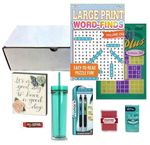 Get Well Gifts for Women | Feel Better Soon | Post-Surgery or Illness Care Package with Box Sign, 16 oz. BPA-Free Acrylic Tumbler, 2 Full-Size Puzzle Books, Pens, Cards, Tissue & Lip Balm - 9 Items