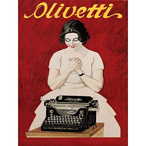 Wee Blue Coo Commercial Advert Olivetti Typewriter Vintage Italy Art Print Poster Wall Decor 12X16 inch Commerciale pubblicità Vintage ▾ Italia Manifesto Parete