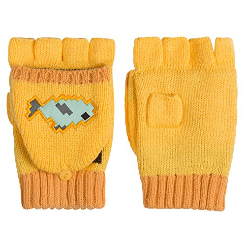 JINX Minecraft Ocelot Fingerless Knit Gloves with Convertible Mitten Cover (Yellow, One Size)