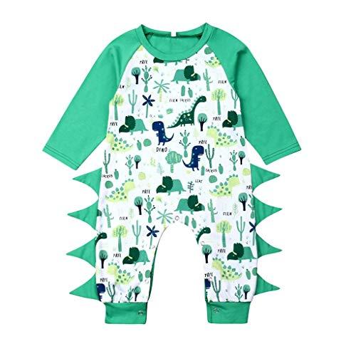 wuayi Nouveau-né Garçon Barboteuse, Barboteuse à Manches Longues à Motif Dinosaure pour Bébé Garçon, Combinaison Vêtements 0-18 Mois