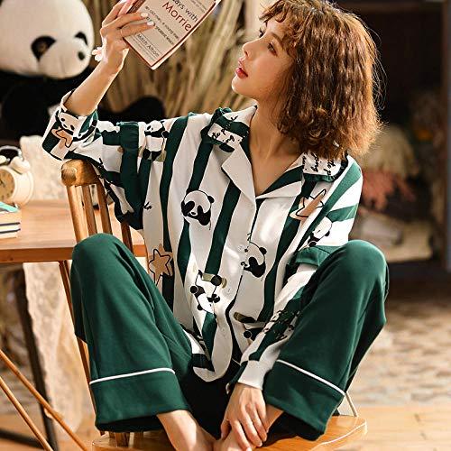 Cxypeng Ladies Comfy Pijamas Mujeres Soft,Conjunto de Pijamas de Primavera y otoño de algodón de Manga Larga para Mujer, Ropa de hogar Linda-XXL_A33208#,Top de Pantalones Sleepwear