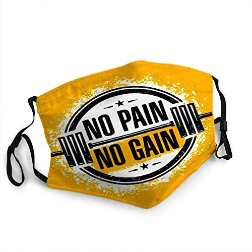 No Pain Gain Inspiring Workout and Fitness Gym Motivation Cotización creativa ROUG, cubierta de boca para mujeres, máscara facial reutilizable lavable para hombres