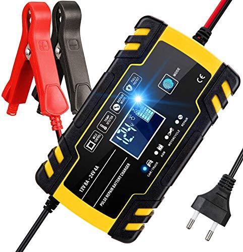 Aibeau Ladegerät Autobatterie 12V/24V Batterie Ladegerät Auto, Erhaltungsladegerät mit LCD-Bildschirm Mehrfachschutz für Autobatterie, Motorrad, Rasenmäher oder Boot