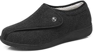 Nwarmsouth Gonflés Arthrite Oedème Swollen Pantoufle,Vieil Homme Plus Chaussures de gonflement des Pieds en Velours, Chaus...