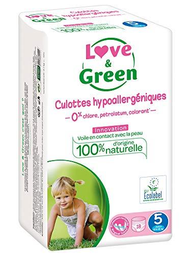 Love & Green - Pack de 18 Culottes Hypoallergéniques - Taille 5 (12-25 kg)