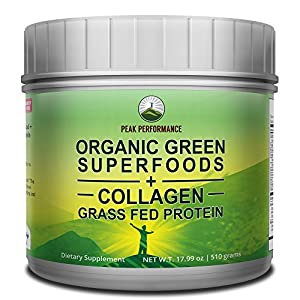 Peak Performance Organic Greens Superfood + Grass Fed Collagen - Ultimate Blend of Best Tasting Organic Green Juice Superfood with Pure Pasture Raised Hydrolyzed Protein Powder. 42+ Greens and Aminos from Peak Performance Coffee