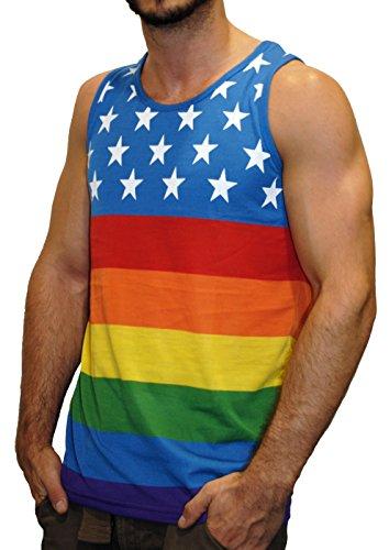 Exist Men's American Pride Flag Tank Top, Rainbow Stars, L