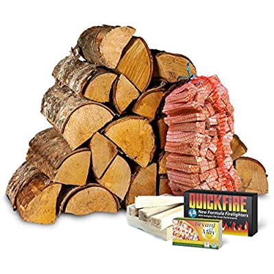 Birch Kiln Dried Starter Kit. 20Kg Sustainably Sourced Logs. Net of kindling. Box of Matches and Firelighters. by Logpile