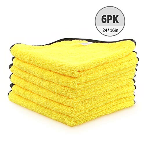 AIDEA Microfiber Detailing Towel, Cleaning Cloth Drying Towel, Scratch-Free, Strong Water Absorption Cleaning Cloth for Cars, SUVs, RVs, Trucks, and Boats, (24 in. x 16 in.)- 6PK Yellow