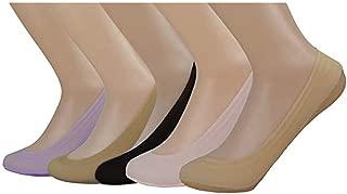 5 Packs SYAYA Girls' Striped Low Cut Liner Socks No Show Boat Socks Women CW1(Black,white,pink,gray,skin)