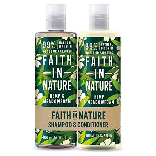 Faith In Nature Set de Champú y Acondicionador Natural de Cáñamo y Aceite de Semillas Meadowfoam, Reparador, Vegano y No Testado en Animales 2 x 400ml 800 ml