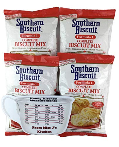 Southern Biscuit Formula L Complete Mix 7 Oz (4 Bags) with Miss J's Handy Kitchen Measurements Conversion Chart for Refrigerator - Bundle of 5!