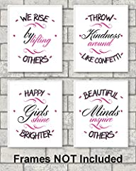 THOUGHTFUL WORDS of WISDOM. Beautiful Minds Inspire Others. Happy Girls Shine Brighter. Throw kindness around like confetti. We Rise by Lifting Others ROOM DECOR FOR GIRLS or women. Great addition to any room of the house. PERFECT GIFT for a birthday...