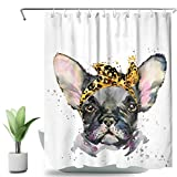 SVBright French Bulldog Shower Curtain Colorful Watercolor of Dog 60Wx72L Inch Funny Animal 12 Pack Hooks Polyester Waterproof Fabric Bathroom Bathtub Panels