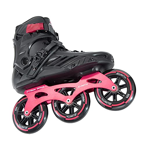 Inline Speed Racing Skates, High Performance Outdoor Roller Skates for Men, JEUWITH 3-Wheel Fitness Inline Skates for Adult and Youth (BlackRed, Men9.5/Women10.5)