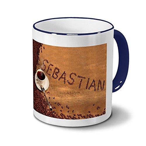 printplanet Tasse mit Namen Sebastian - Motiv Kaffeebohnen - Namenstasse, Kaffeebecher, Mug, Becher, Kaffeetasse - Farbe Blau