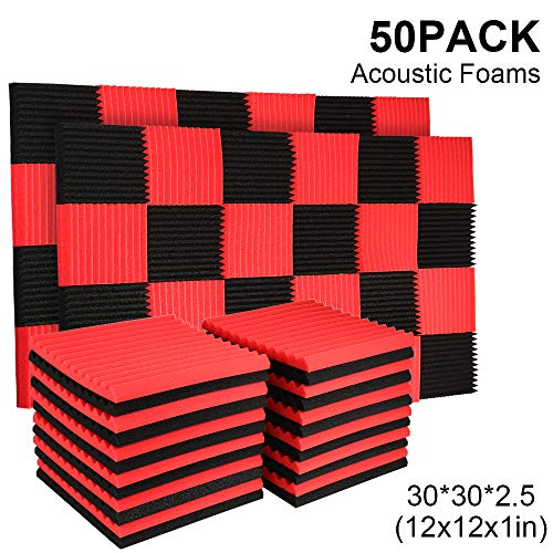"""50 Pack Acoustic Panels Soundproof Studio Foam for Walls Sound Absorbing Panels Sound Insulation Panels Wedge for Home Studio Ceiling, 1"""" X 12"""" X 12"""", Black (50PCS, Black&Red)"""