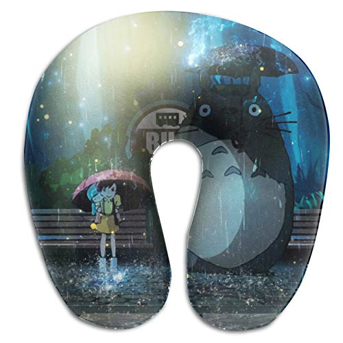 Anime Totoro - Almohada en forma de U suave y cómoda con memoria de resorte en forma de U, adecuada para ocasiones de descanso como oficina, coche, hogar, etc.