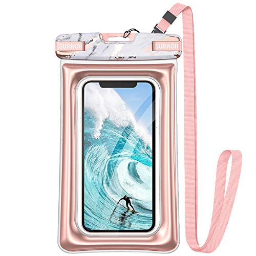 "SURITCH Universal Waterproof Phone Pouch Floating, IPX8 Waterproof Phone Case for iPhone 11 Pro Max XS Max XR X 8 7 Plus 6s Galaxy S10 S10e S9 S20 Ultra Note 9/10 Google Pixel Up to 6.9""-Gold Marble"