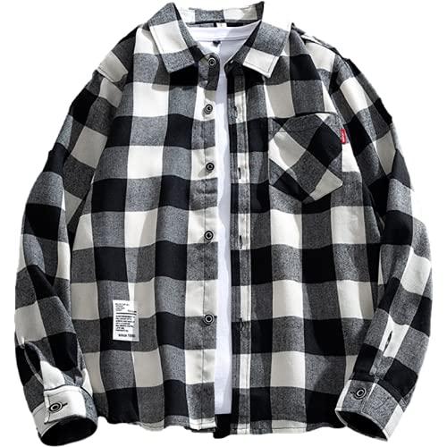 Camisa de Manga Larga para Hombre, Moda, Estampado a Cuadros, Tendencia, Personalidad, Costura, Bolsillo,...