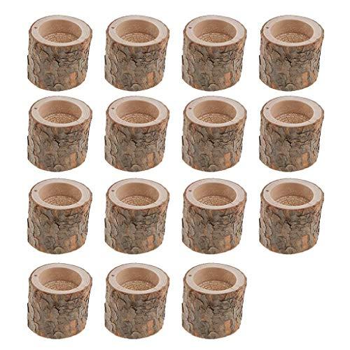 Tubayia 15pcs Baumstumpf Teelichthalter Holz Kerzenhalter Teelichter für Zuhause Bar Hochzeit Party Dekoration