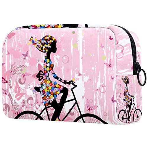 ATOMO Makeup Bag, Fashion Cosmetic Travel Bag Large Toiletry Bag Makeup Organizer for Women, Pink Spring Girl Rading A bike Flower