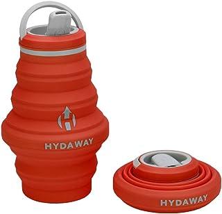 HYDAWAY Botella de agua plegable, tapa de boquilla de 500ml, ultraplegable, apta para viajes, silicona de grado alimenticio