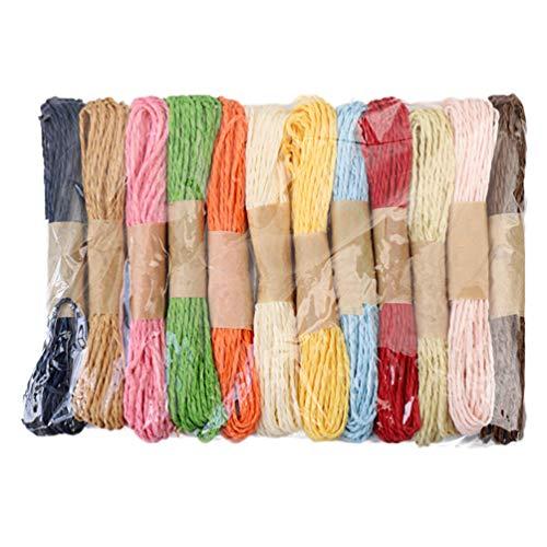 Healifty 12 Rolle 10 Mt Bast Papier Band Bunte Geschenkverpackung String DIY Weben Seil Schnur für Hochzeit (Mix Farbe)
